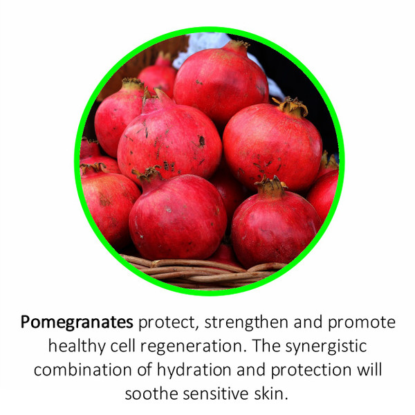 Pomegranates protect, strengthen and promote healthy cell regeneration. The synergistic combination of hydration and protection will soothe sensitive skin.