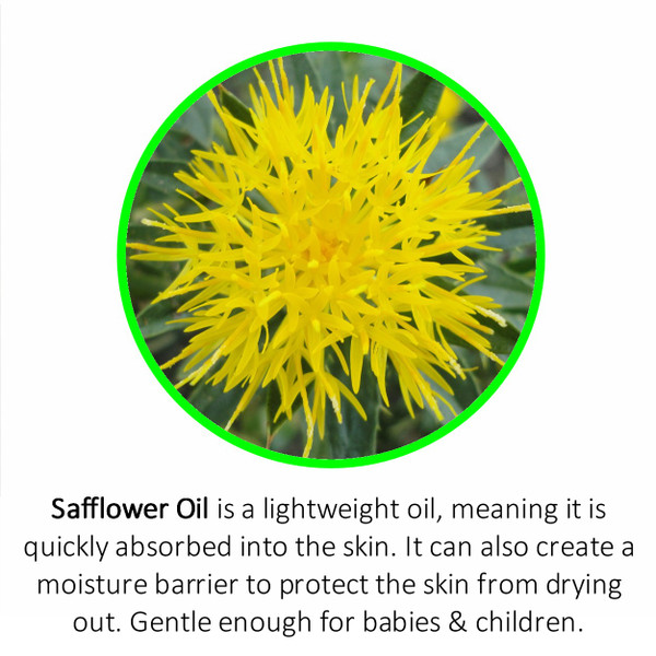 Safflower Oil is a lightweight oil, meaning it is quickly absorbed into the skin. It can also create a moisture barrier to protect the skin from drying out. Gentle enough for babies & children.