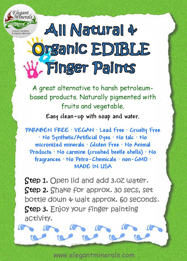 Set of 10 All Natural & Organic non-GMO EDIBLE Finger Painting Kit for Baby & Children DYE-Free