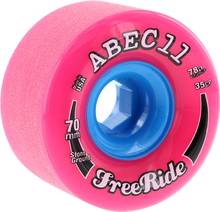 Abec 11 - Freeride Stone Ground 70mm 78a Pink/blu - Skateboard Wheels (Set of Four)