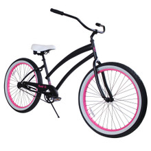 ZF Bikes - Beach Cruiser Bike - Cheetah - Black / Pink