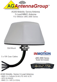 AG60 5-Lead MIMO Bolt Mount Antenna For InMotion oMG 2000 Series WT