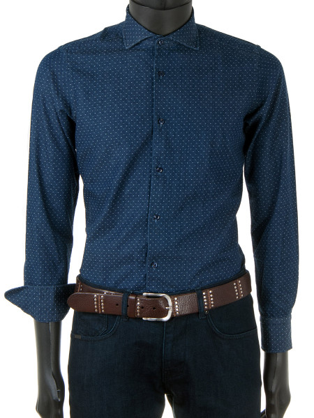 Denim Blue Dotted Twill Shirt