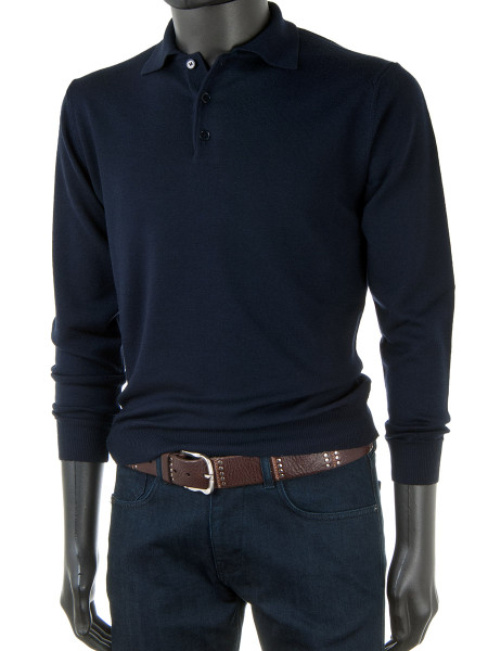 Night Blue Merino Polo Collar Jumper