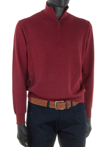 Crimson Merino Zip Neck Jumper