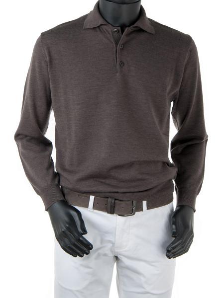 Brown Merino Polo Collar Jumper