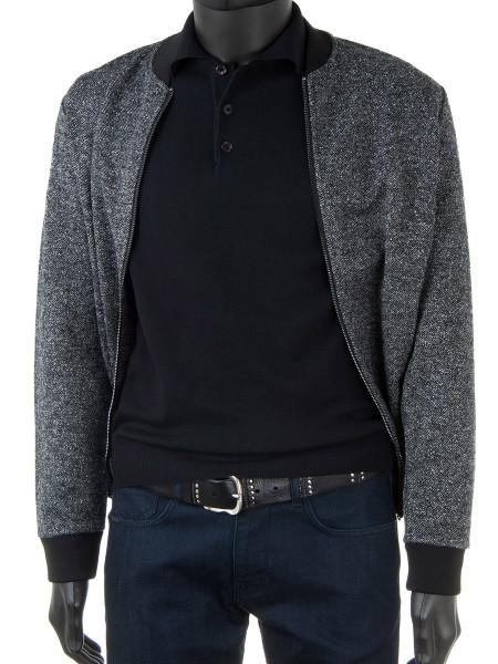 Black Merino Polo Collar Jumper