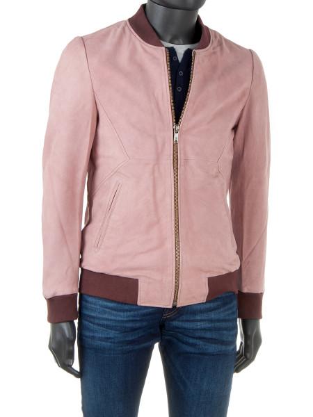 Cinder Nubuck Leather Bomber Jacket