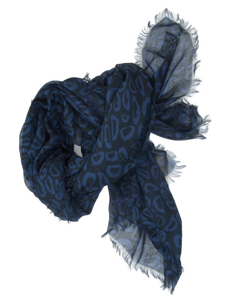 Two Tone Blue Patterned Scarf