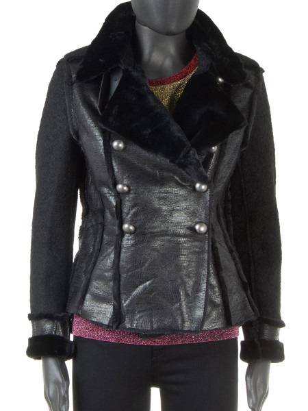 Faux Shearling Double-Breasted Biker Jacket