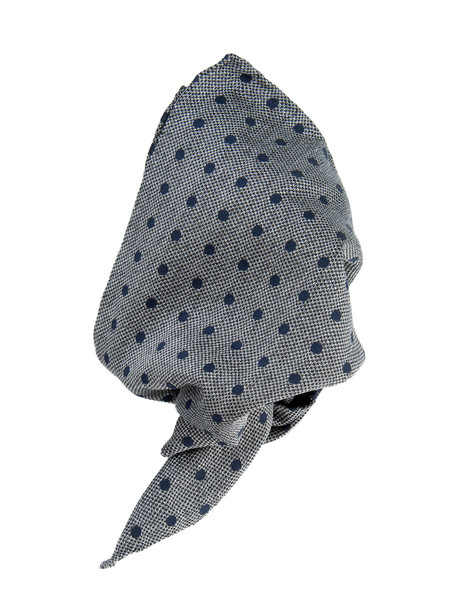 Grey Large Navy Spot Textured Silk & Cotton Pocket Square