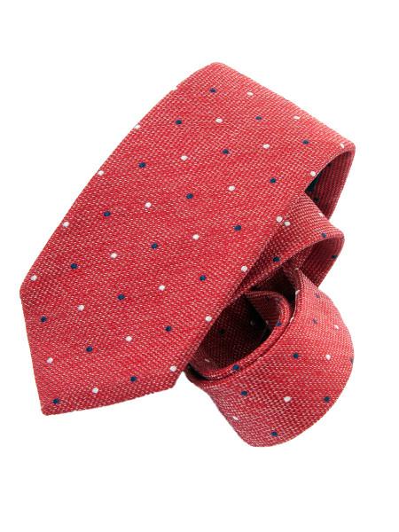 Red Navy & White Micro Spot Silk Tie