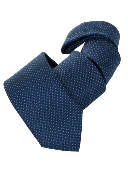Navy Light Blue Pin Dot Smooth Silk Tie