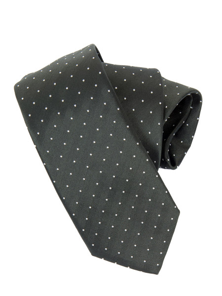 Dark Green White Micro Spot Silk Tie