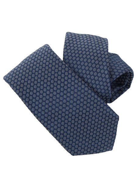 Blue Honeycomb Patterned Silk Tie