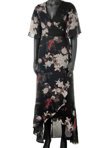 Long Floral Print Wrap Dress