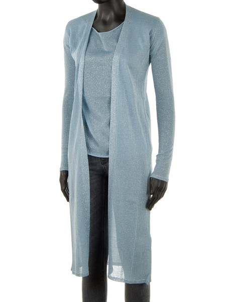 Light Blue Long Glitter Jacket