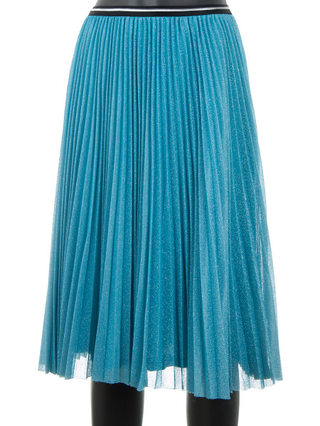 Acqua Blue Pleated Glitter Skirt