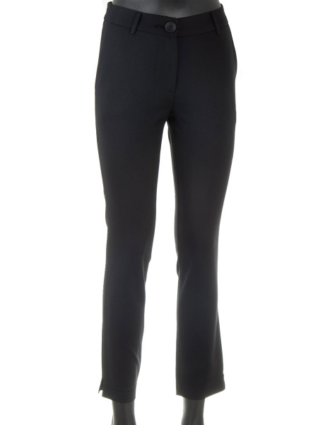 Black Cotton Blend Stretch Pants