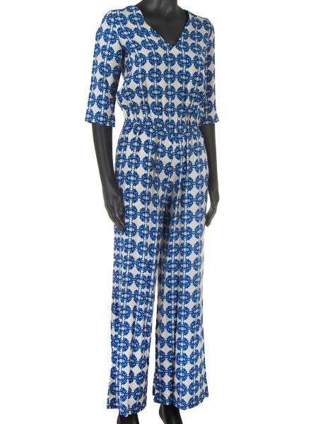 Royal Blue Patterned Jumpsuit