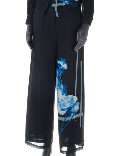 Floral Print Sheer Wide Leg Pants