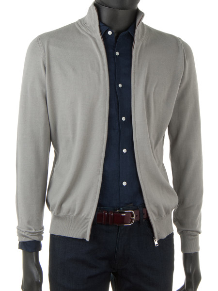 Stone High Neck Zip Through Cotton Cardigan