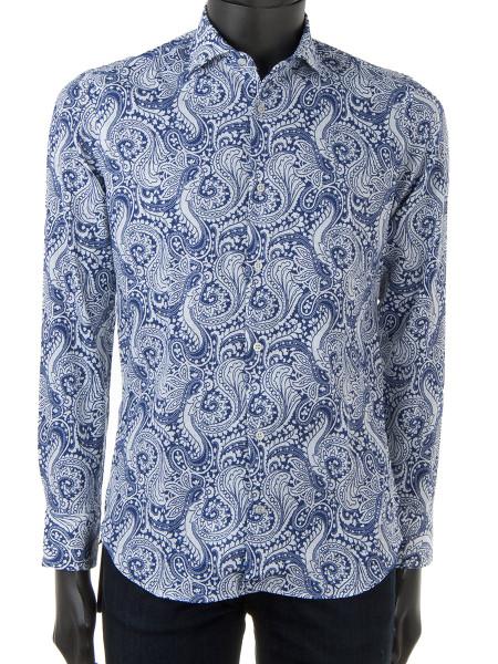 Blue Paisley Print Linen & Cotton Shirt