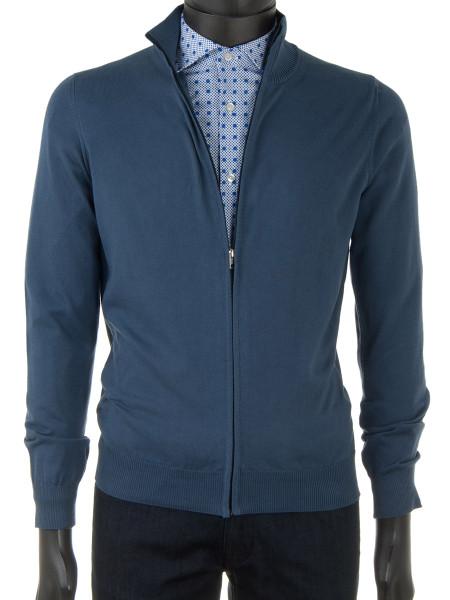 Denim Blue High Neck Zip Through Cotton Cardigan