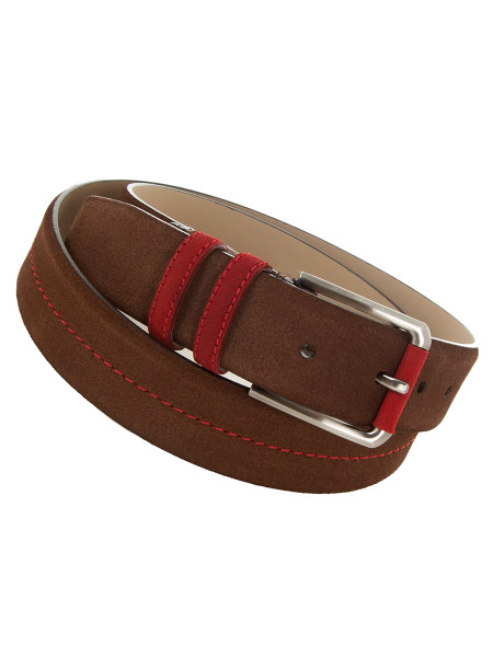 Brown Suede Two Tone Belt