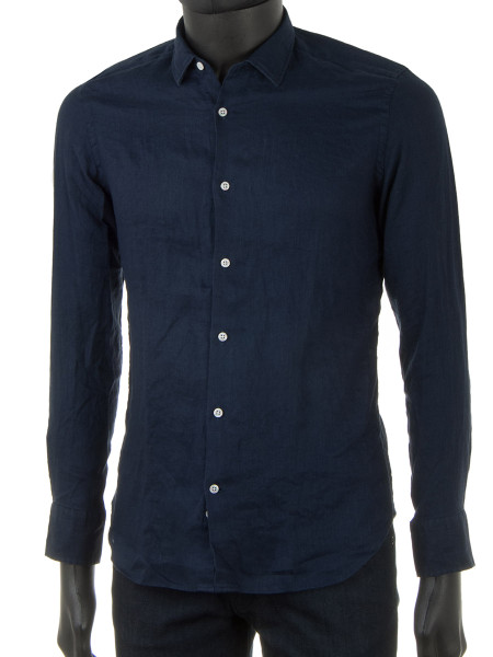 Navy Pure Linen Shirt