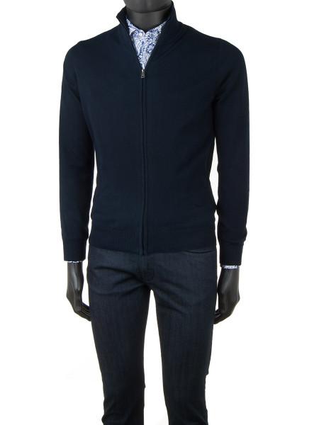 Dark Navy High Neck Zip Through Cotton Cardigan