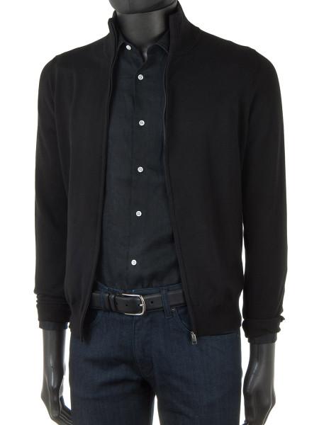 Black High Neck Zip Through Cotton Cardigan