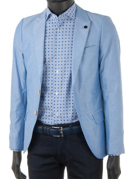 Blue Dot Print Cotton Stretch Shirt