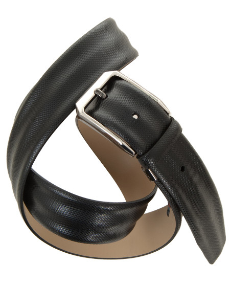 Black Elegant Engraved Leather Belt