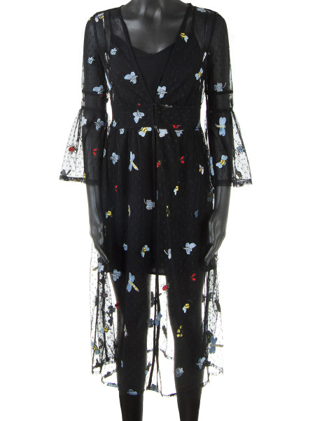 Black Embroidered Butterfly Tulle Dress