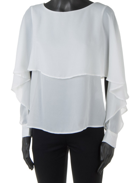 White Sheer Ruffled Cape Top