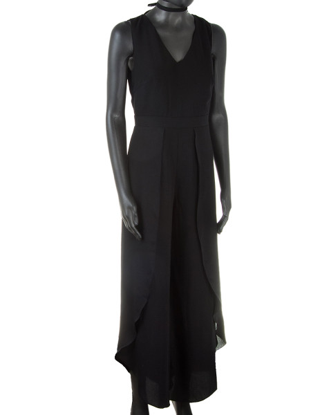 Black Wrap Side Slits Jumpsuit