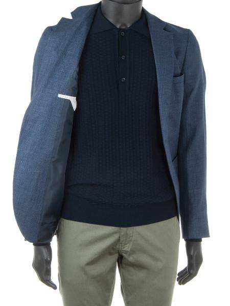 Navy Long Sleeve Knit Polo Shirt