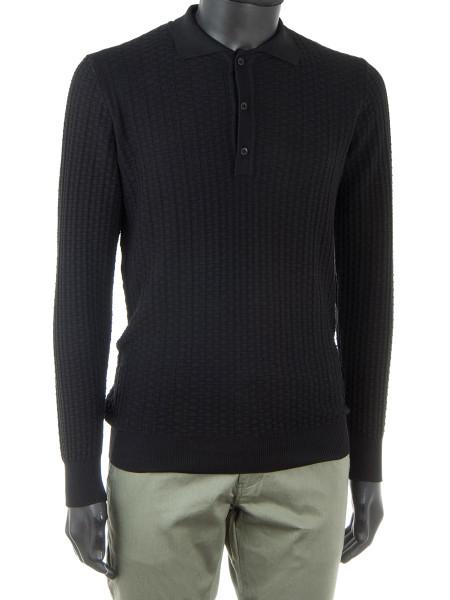 Black Long Sleeve Knit Polo Shirt