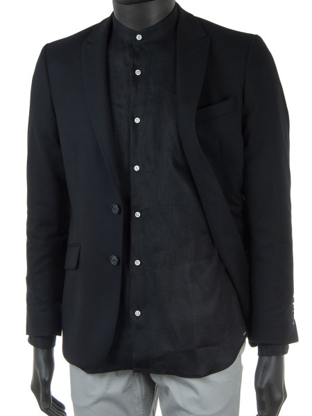 Black Linen Grandad Shirt