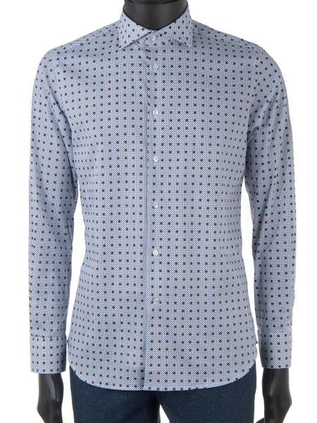 Blue & Brown Dot Print Stretch Shirt
