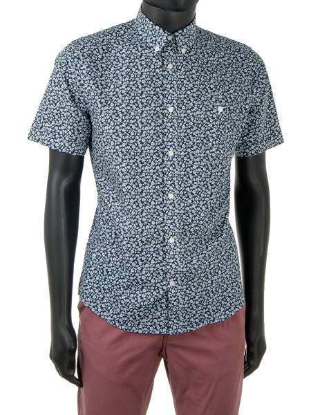Blue Mini Print Clean-Cut Cotton Shirt