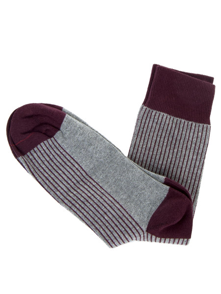 Grey & Bordeaux Striped Socks