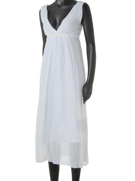 White Cotton & Silk Summer Dress