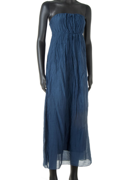 Blueberry Cotton & Silk Strapless Summer Dress