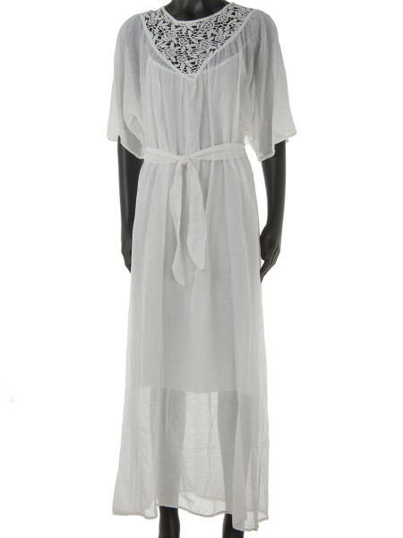 Ecru Maxi Kaftan Dress