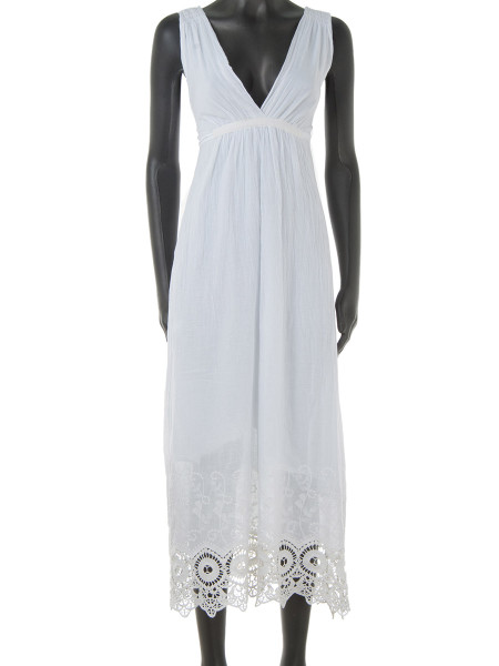 White Broderie Trim Cotton Summer Dress