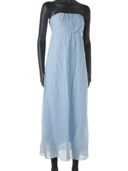 Light Blue Cotton & Silk Strapless Summer Dress