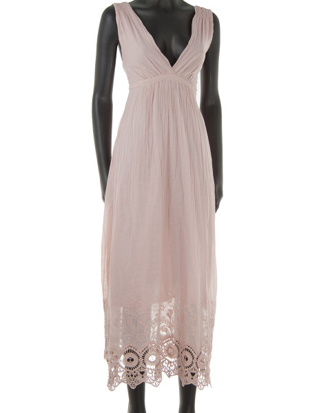 Light Pink Broderie Trim Cotton Summer Dress