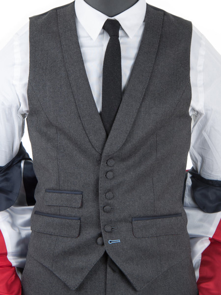 Midgrey Wool Flannel Waistcoat
